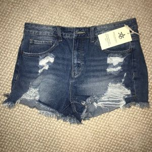 New ripped denim shorts